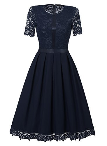SYLVIEY Womens Cocktail Lace Wedding Homecoming Casual Evening Party Midi Dress Navy Blue XX-Large