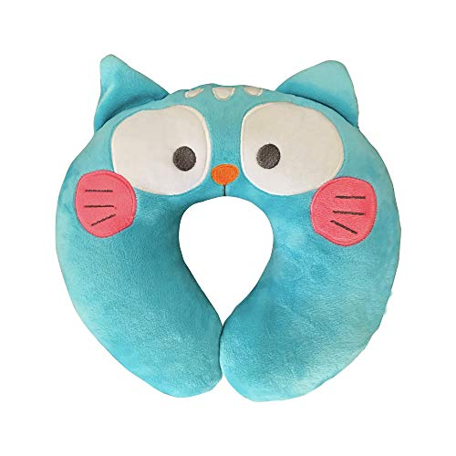 SUMDAYNIET Updated 2019 Version Kids Travel Pillow, Plush Cute Animal Cat Pillow Airplane Soft and Comfortable Neck Head Chin Support Pillow for Strollers Car Seat Toddler (Blue)