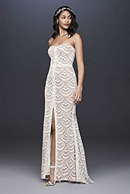Scalloped Lace Split-Front Sheath Wedding Dress Style WG3948