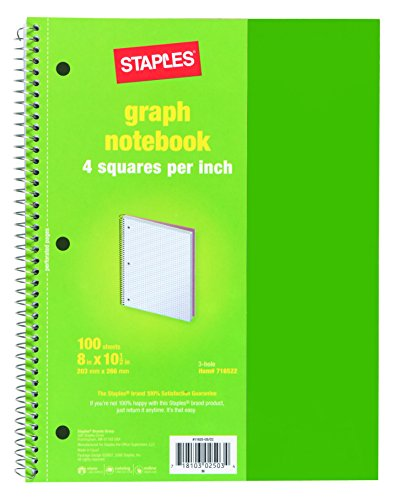 staples quadrille spiral notebook 100 sheets 4 squares per