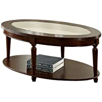 Furniture of America Claire Oval Glass Top Coffee Table, Dark Cherry Finish