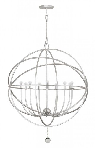 Crystorama 9229-OS Contemporary Modern Nine Light Chandelier from Solaris collection in Pwt, Nckl, B/S, Slvr.finish,