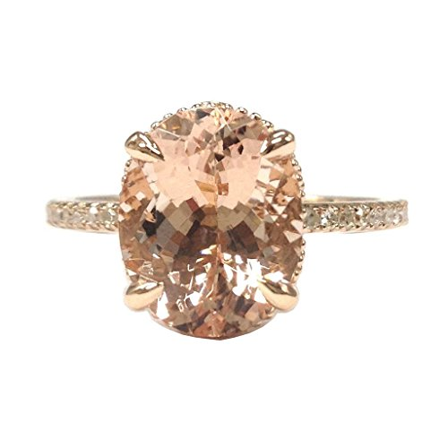 (Oval Morganite Engagement Ring Pave Diamond 14K Rose Gold 8x10mm Claw Prong)