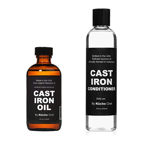 Cast Iron Care Pack - 4oz Organic Cast Iron Oil (Made from Flaxseed Oil grown and pressed in the USA) & 8oz Natural Cast Iron Conditioner For Daily Use