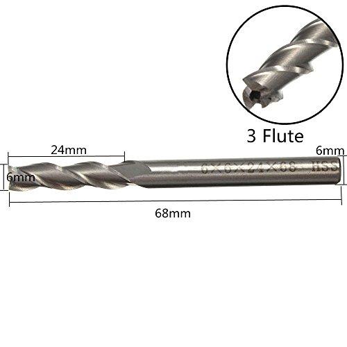 FUT HSS 3 Flute End Milling Lathe Cutter CNC Bit Tool 6mm Cutting Edge Diameter by FUT (Image #4)