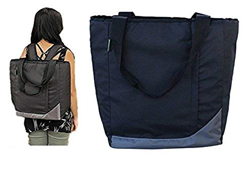 Earthwise Insulated Grocery Bag Backpack Shopping Tote with Multiple Zipper Pockets and Backpack Carrying Straps - Perfect for Grocery, Shopping and Food Delivery
