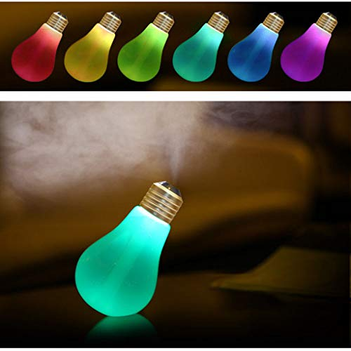 baskuwish Christmas Decor USB Night Light Bulb Lamp Humidifier Home Aroma LED Humidifier Air Diffuser Purifier Atomizer Glass Bottles View (White)