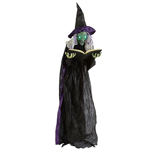 Life Size Animated Witch (Lifesize Animated Agatha The Spell Casting Witch w/Lighted Spell Book- Sound Activated)