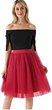 NVDKHXG Moda 5 Capas 60 cm Moda Falda de Tul Plisada Faldas ...