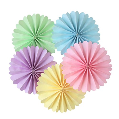 Mybbshower 8 Inch Pastel Paper Rosettes Party Decorating Kit for Baby Shower Pack of 5