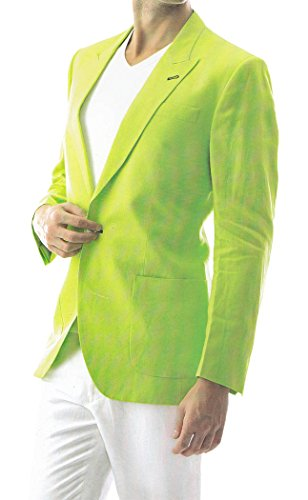 INMONARCH Mens Green Linen Blazer 2 Pc Suit One Button Lime-Green LS20R34 from INMONARCH