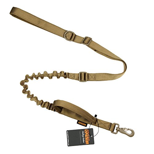EXCELLENT ELITE SPANKER Tactical Bungee Dog Leash Military Adjustable Police Dog Training Leash Elastic Leads Rope with 2 Control Handle(COB)
