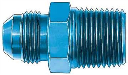 "Aeroquip FCM2007 Blue Anodized Aluminum -08AN Flare to 3/8"" NPT Pipe Fitting"