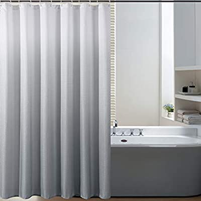 Bermino Textured Fabric Bath Shower Curtain - Ombre Shower Curtains for Bathroom with 12 Hooks, 70 x 72 inch, Grey Gradient - Heavy Duty Fabric Shower Curtain: Our heavy duty thick bath curtains are crafted from 100% imported polyester. The long shower curtain measures 70 by 72 inches. Water Resistant Shower Curtains: Our shower curtain is water resistant and helps keep water inside the tub. This fabric shower curtain for bathroom can be used alone or with a shower curtain liner (recommended). Available in a vibrant gradient ombre colors, our bathroom curtains will instantly elevate and add a touch of excitement and fashion to your most private space. Because we value your privacy, these shower curtains are not see-through. - shower-curtains, bathroom-linens, bathroom - 41UsD9MB86L. SS400  -