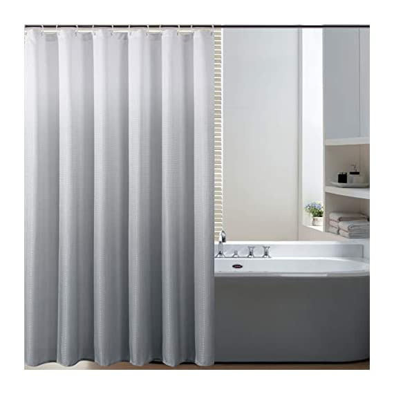 Bermino Textured Fabric Bath Shower Curtain - Ombre Shower Curtains for Bathroom with 12 Hooks, 70 x 72 inch, Grey Gradient - Heavy Duty Fabric Shower Curtain: Our heavy duty thick bath curtains are crafted from 100% imported polyester. The long shower curtain measures 70 by 72 inches. Water Resistant Shower Curtains: Our shower curtain is water resistant and helps keep water inside the tub. This fabric shower curtain for bathroom can be used alone or with a shower curtain liner (recommended). Available in a vibrant gradient ombre colors, our bathroom curtains will instantly elevate and add a touch of excitement and fashion to your most private space. Because we value your privacy, these shower curtains are not see-through. - shower-curtains, bathroom-linens, bathroom - 41UsD9MB86L. SS570  -