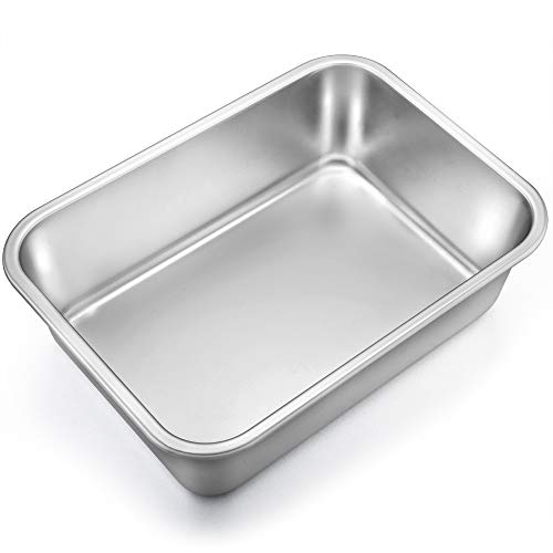 (TeamFar Lasagna Pan, Rectangular Cake Pan Brownie Bake Dish Stainless Steel, 13''×10''×3.25'', Heavy Duty & Healthy, Deep Side & Brushed Surface, Easy Clean & Dishwasher safe)