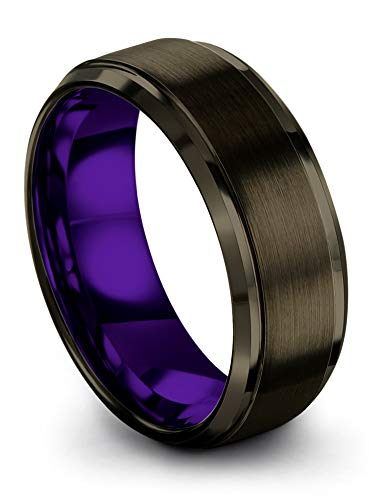 Chroma Color Collection Tungsten Carbide Wedding Band Ring 8mm for Men Women Purple Interior with Gunmetal Exterior Step Edge Brushed Polished Comfort Fit Anniversary Size 5.5