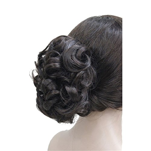 Aimole 6 Short Curly Synthetic Ponytail Clip in Claw Extensions 80g with a jaw/claw clip Dark Brown Red (2SP33)