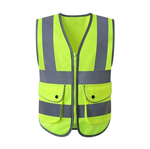 JKSafety Class 2 High Visibility Zipper Front Kids Safety Vest With Reflective Strips, Yellow Meets ANSI/ISEA Standards (Kid-Small)