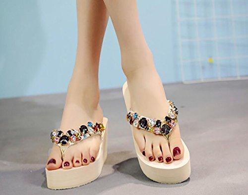 usar salvajes moda sandalias playa de Tamaño 37 tacón de cordones femeninos moda Sandalias zapatillas zapatillas C Chanclas Color zapatos de con una planas cuña de sin zwWHp5n0
