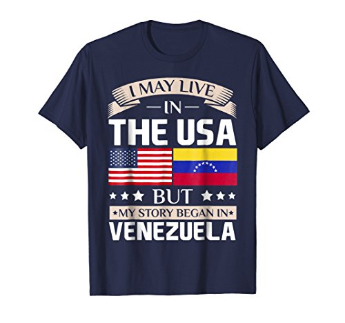 Mens May Live in USA Story Began in Venezuela Flag T-Shirt Medium Navy