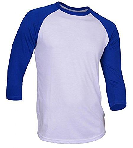 DREAM USA Men's Casual 3/4 Sleeve Baseball Tshirt Raglan Jersey Shirt White/Blue Small