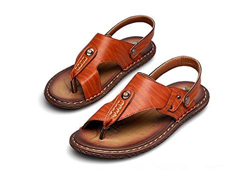 Mobnau Leather Walking Beach Mobnau Mens Khaki Sandals Fashion Thong Mens xvYnqY1dI