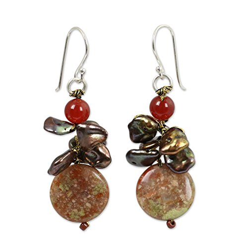 Novica Jasper Ring - NOVICA Multi-Gem Jasper Cultured Freshwater Pearl Silver Plated Beaded Earrings 'Exotic Muse'