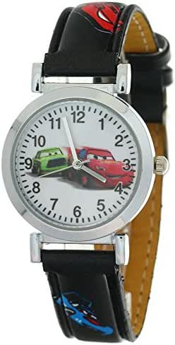 TimerMall Kids Children Boys Girls Quartz Cartoon Car Motif Black Leather Strap Analog Wristwatch