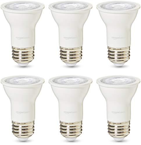 Light 16 Basics - AmazonBasics 50 Watt 25,000 Hours Dimmable 525 Lumens LED Par16 Light Bulb - Pack of 6, Soft White