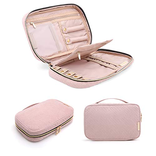 (BAGSMART Travel Jewelry Storage Cases Jewelry Organizer Bag for Necklace, Earrings, Rings, Bracelet, Pink)