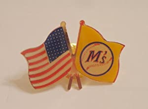 Original Seattle Mariners & Baseball American USA Flag Enamel Hat Lapel Logo Pin