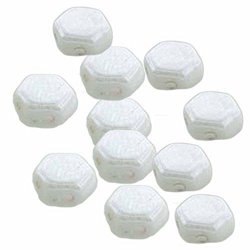Czech Glass Honeycomb Beads, 2-Hole Hexagon 6mm, 30 Pieces, White Luster