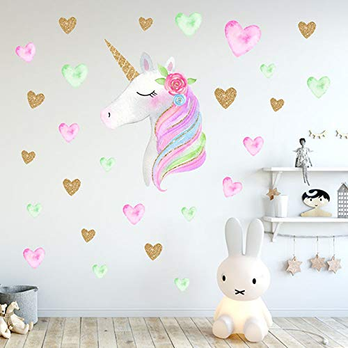 Cartoon Cute Unicorns Star Heart Wall Stickers Wallpaper DIY Vinyl Home Wall Decals Kids Living Room Bedroom Girls Room Decor my fell
