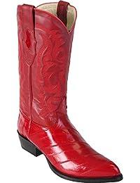 Mens Genuine Eel Exotic Skin Western/Cowboy J-Toe Boots black