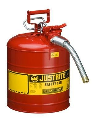 Justrite 7250130 5 gal Red AccuFlow Galvanized Steel Type II Vented Safety Can With Stainless Steel Flame Arrester And 1'' Metal Hose (For Flammable Liquids), 15.34 fl. oz, 17.5'' x 11.75'' x 1''