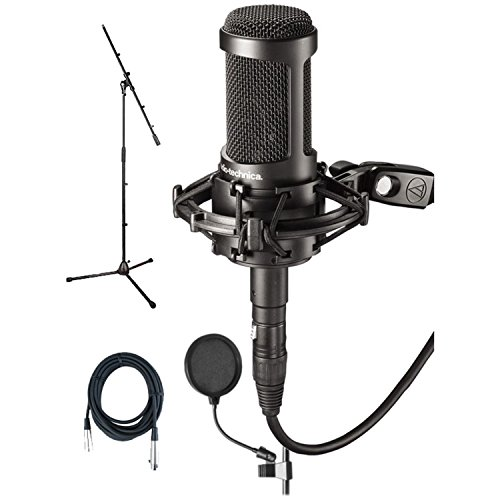 Audio Technica AT2050 Studio Condenser Mic Bundle w/Pop Filter, Mic Cable & Boom Stand by Audio-Technica