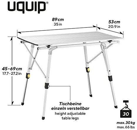Height Adjustable Aluminium Folding Table Uquip Bloody Comfort Camping Set Portable Outdoor Picnic Table with 2 Camping Chairs