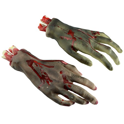 Scary Hands (MISHIN Bloody Fake Severed Hands Feet Scary Halloween Haunted House Decorations Props (Pair of Black)