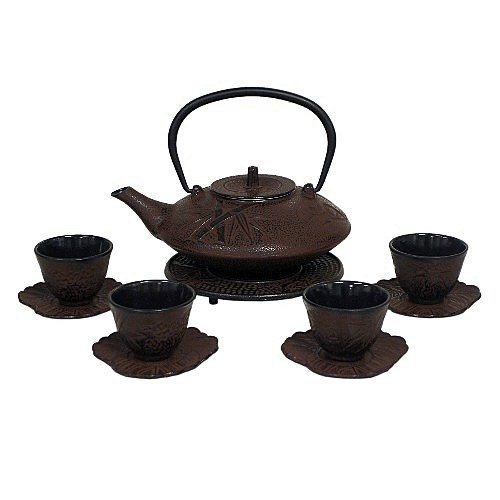 (Reddish Brown Cast Iron Tea Set with 4 Cups and Leaf Design Saucers, 40 Oz)