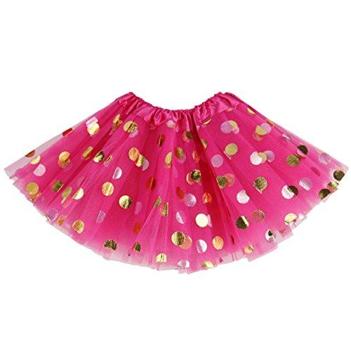 Triple Layer Tulle - Meloye Baby Toddler Girls' Polka Dot Tutu Glitter Ballet Triple Layer Tulle Dance Skirt (Rose, 3-10 Years)