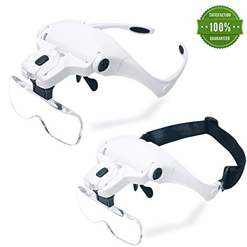 Headband Magnifier LED Illuminated Head Magnifying Glasses 1.0X/1.5X/2.0X/2.5X/3.5X