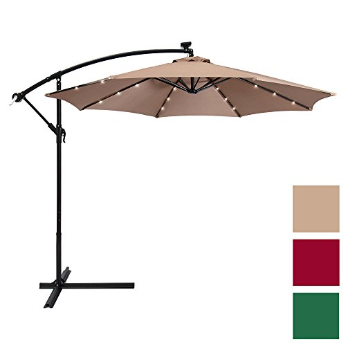 Aluminum Tilt Offset Umbrella - Best Choice Products 10ft Solar LED Patio Offset Umbrella w/Easy Tilt Adjustment - Tan