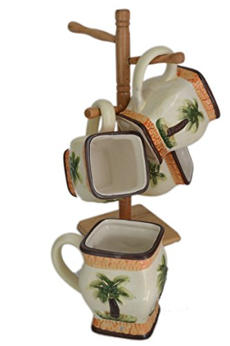 (Set 5 Piece Palm Tree Tropical 3-D Ceramic Tea Coffee Mugs Cups with Wooden Rack )
