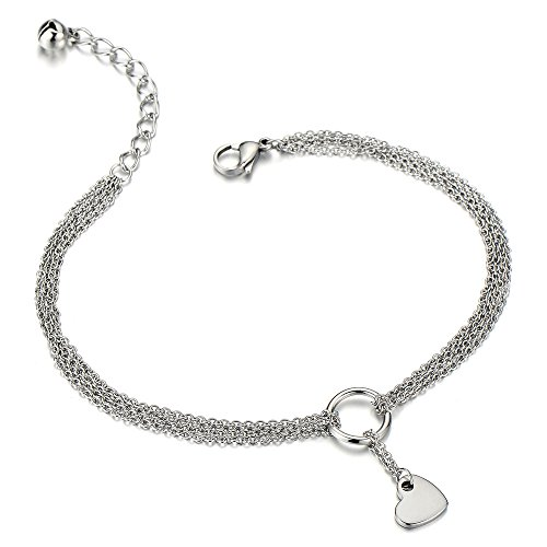 COOLSTEELANDBEYOND Stainless Steel Multi-Strand Anklet Bracelet with Dangling Charms of Hearts