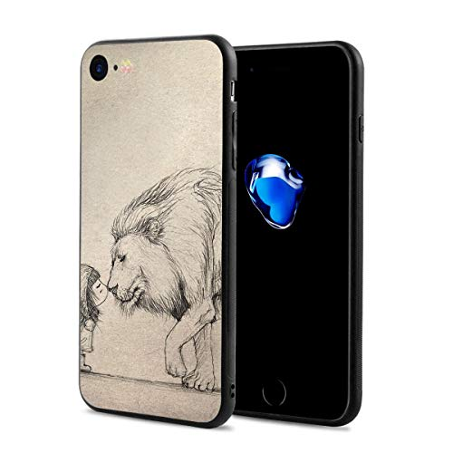 Aslan and Lucy Drawing Printed Phone Case Cover for iPhone 7/8 Black/Transparent Plastic Back with Durable Bumper Protective 4.7 -