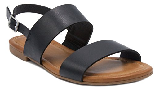 Sugar Women's Pallas Sandal Double Banded 2 Strap Slingback with Buckle Black - Slingback Buckle