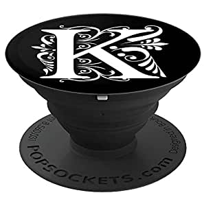 PopSockets Grip Letter K White Initial K On Black Background - PopSockets Grip and Stand for Phones and Tablets