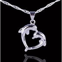 925 Silver CZ 2-Dolphin Love Heart Design Necklace Pendant Charm Fashion jewelry