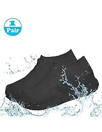 PUBAMALL Impermeable Cubiertas de Zapatos, de Silicona, Botas de Lluvia Impermeables Botas de Lluvia para Hombres, Mujer (Negro, L)